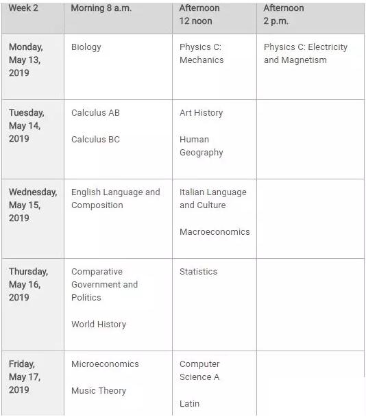 2019年AP考试时间安排