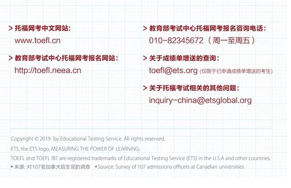 加拿大名校托福®录取分数要求
