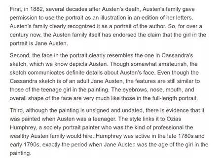 简奥斯丁的画像的三个理由