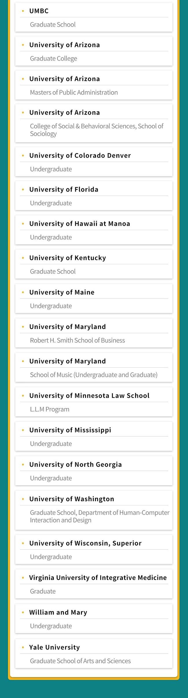 最新的全球所有接受MyBest™ Scores的学校名单