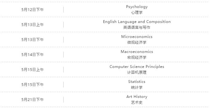 2020年AP考试安排