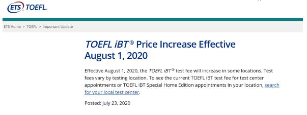ETS官方预告8月1日起托福报名费涨价