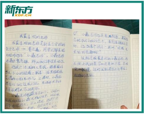 孩子给董佳鑫老师写的周记