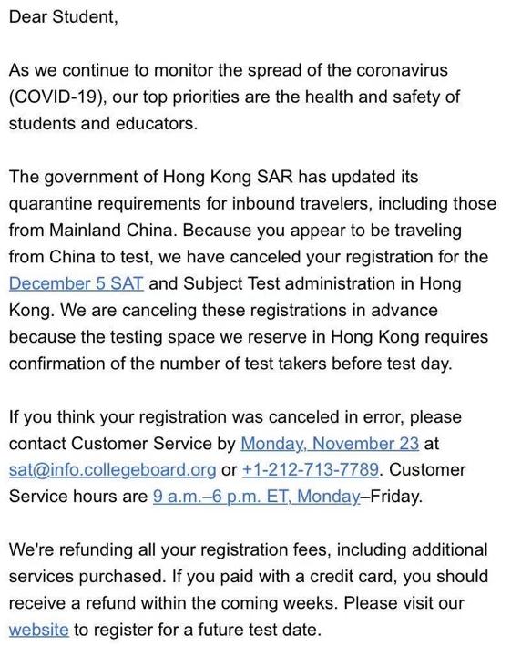 大陆考生12月香港考场SAT考试将被取消